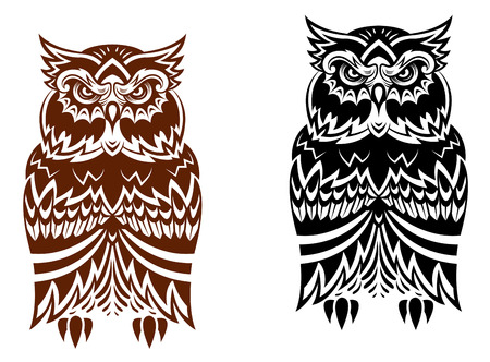 owl tattoo: Tribal owl with decorative ornament isolated on white background Illustration