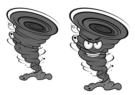 Danger tornado disaster in cartoon style for weather concept or mascot design Vector
