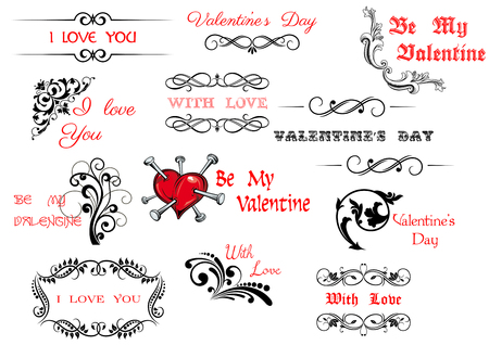title hands: Valentines Day scripts and decorations for holiday design