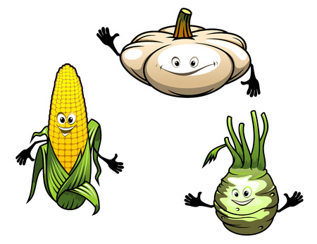 Pumpkin, corn and turnip cartoon vegetables isolated on white background Vector