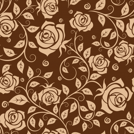 adornment: Seamless pattern with roses in retro style for background or wallpaper design