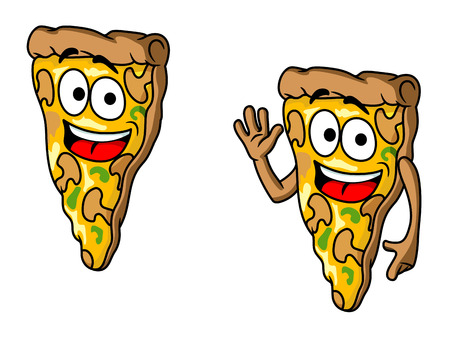 onion slice: Pizza slice in cartoon style for fast food design