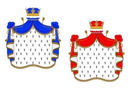 mantles: Red and blue royal mantles isolated on white background for heraldry design