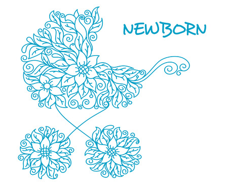 Blue baby carriage in floral style for newborn holiday design