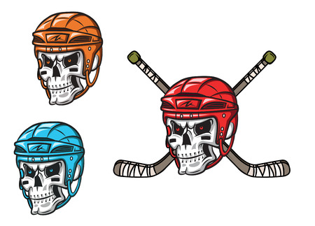 hockey stick: Skull with ice hockey amunition in cartoon mascot style for sports design