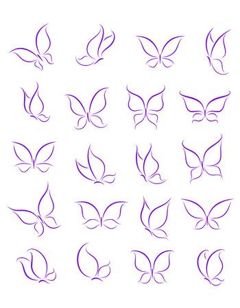 蝶のシルエットの装飾やタトゥーのデザインを設定します。 写真素材 - 23071130