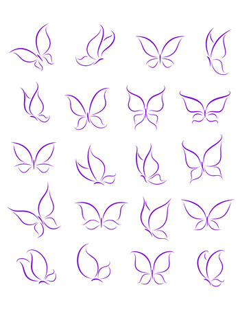 Butterfly silhouettes set for decoration or tattoo design Banco de Imagens - 23071130