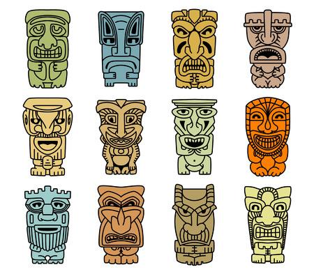 simbolos religiosos: Máscaras tribales de los ídolos y demonios de diseño religioso o étnico Vectores
