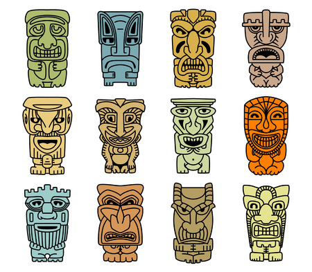 hawaiian tiki: Tribal masks of idols and demons for religious or ethnic design Illustration