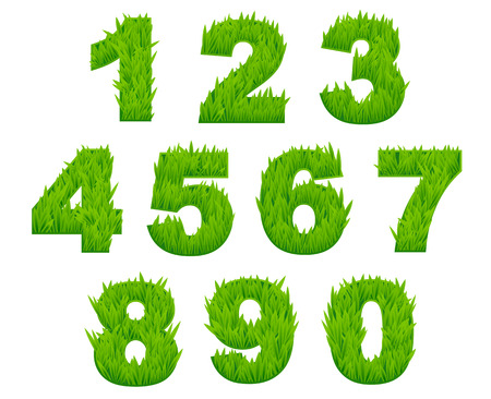 Grass numbers and digits set for environment or ecological design