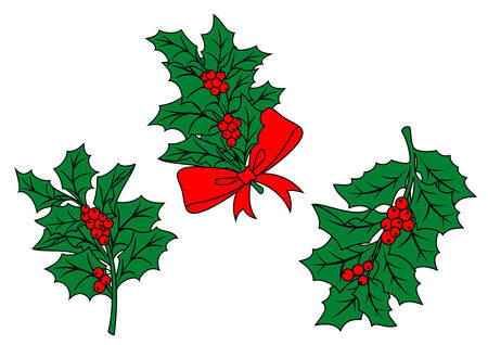 Christmas holly branch with ribbon and red berries for holiday design Vector