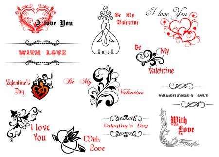 Valentines day symbols and headers for holiday design Vector