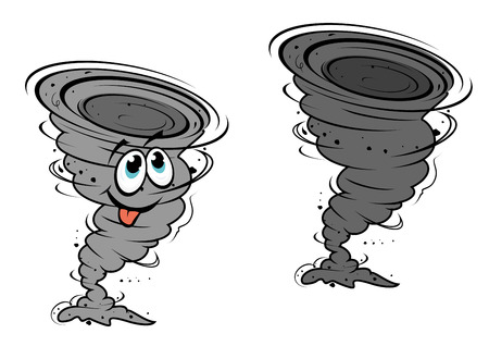 storm damage: Cartoon hurricane in mascot style for design or weather concept Illustration