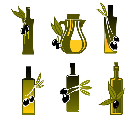 Bottles with olive oil for bio food design Vector