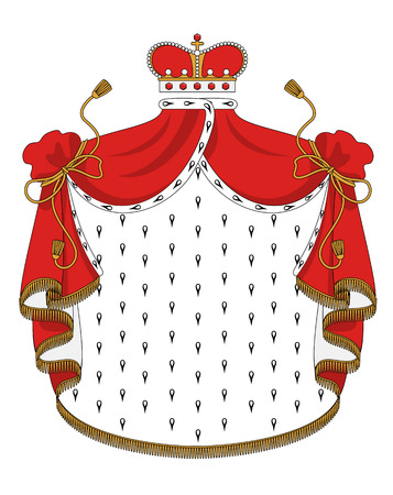 mantle: Heraldic royal mantle with golden crown for design