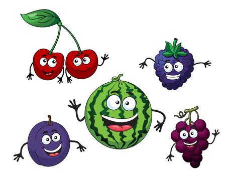 bilberry: Cherry, watermelon, grape, bilberry and plum in cartoon style