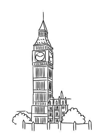 london tower bridge: Big Ben tower in London for travel industry design Illustration