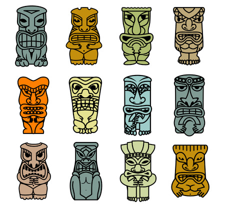 Tribal ethnic masks and totems for religious or historical design Vector