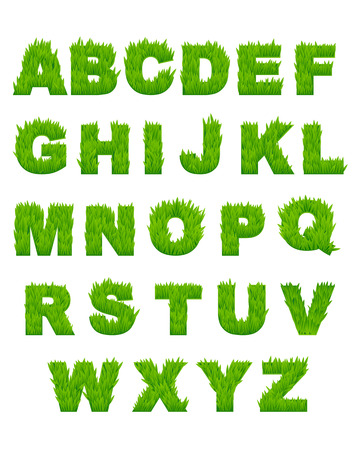 Green grass letters of alphabet for environment or another design Vector