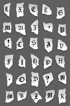 Old letters on torned paper for any design Vector