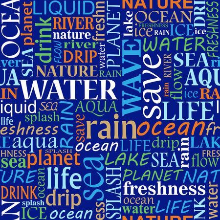 Seamless tag cloud with water words for design