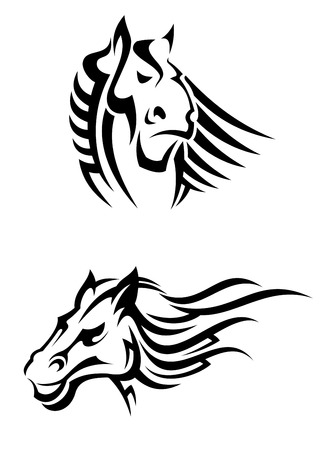 steed: Tribal horses mascots for tattoo or another design Illustration