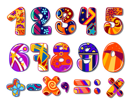 Cartoon colourful school numbers for mathematics or another childish design Illustration