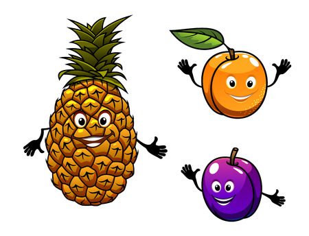apricot: Apricot, pineapple and plum fruits in cartoon style Illustration