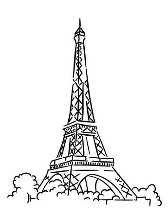 フランス・パリのエッフェル塔。スケッチベクトルイラストレーション