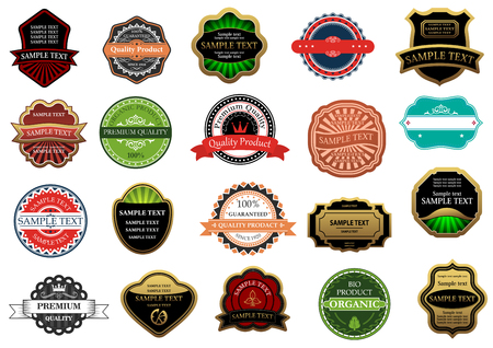 free vintage background: Labels and banners set in vintage retro style