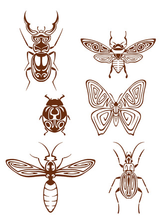 Insects tattoos in tribal style isolated on white background Vector