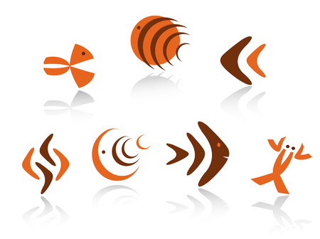 Underwater animals symbols as icons isolated on white background Vector