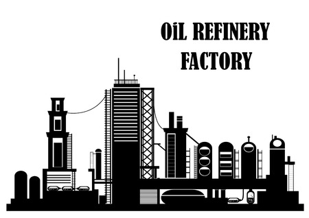 polluting: Oil refinery factory for industrial concept design