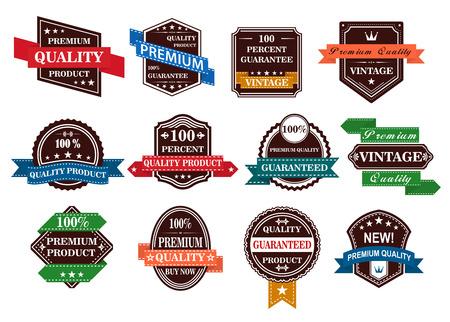 Retro banners, labels en stickers instellen voor retail business design