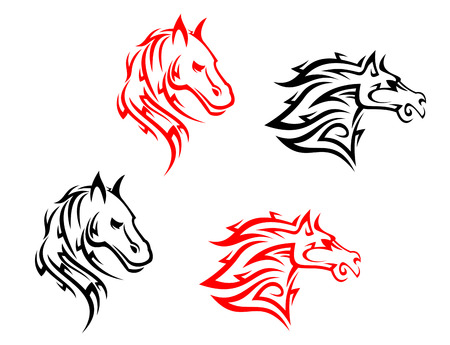 Tribal horses isolated on white background for tattoo design