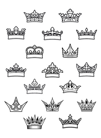 aristocracy: Heraldic king and queen crowns set for design Illustration