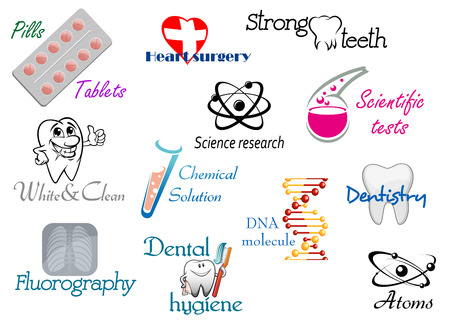 Medicine and science symbols with headers for scientific and research design Stock Vector - 23647883