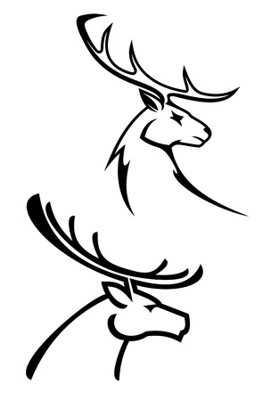 Deer silhouettes in monochrome style for tattoo or hunting design Çizim