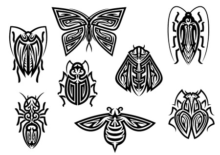 Insect tattoos in tribal style isolated on white background Ilustração