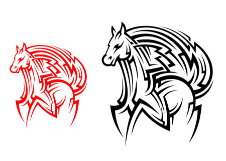 steed: Racing horse stallion in tribal style for tattoo design