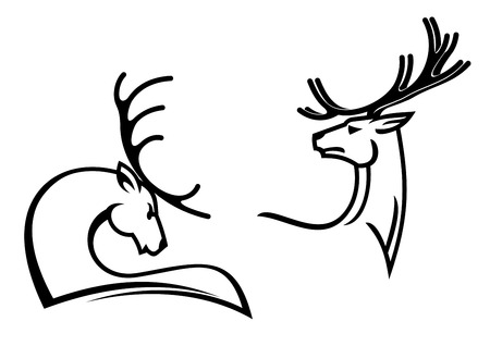 Deers with big antlers for tattoo, mascot or hunting symbols design Vector