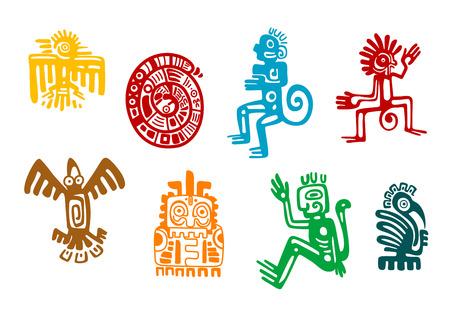 抽象的なマヤとアステカ族の芸術シンボルを白で隔離されます。