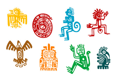 흰색에 고립 된 추상 마야와 아즈텍 예술 상징