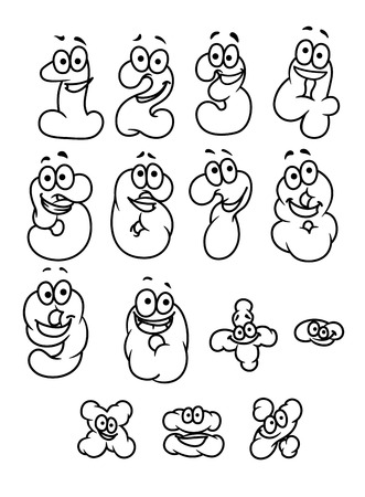 0 6: Cartoon digits and numbers set with positive emotions