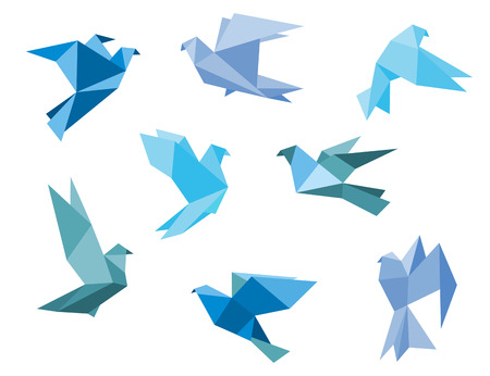 origami bird: Paper pigeons and doves set in origami style Illustration