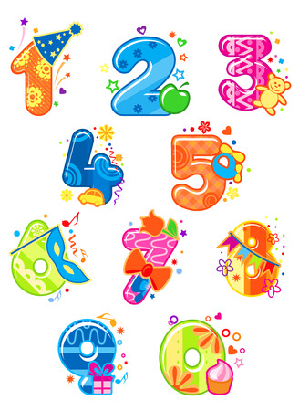 2 1 2: Cartoon digits and numbers with toys for childish mathematics design Illustration