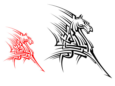 Tribal horse mascot for tattoo or another conceptual design Vector