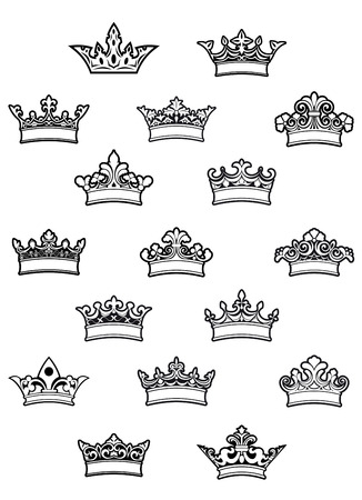 ornated: Ornated heraldic crowns set for heraldry design