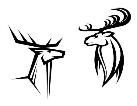 deer head: Wild deers with big antlers for mascot, tatttoo or hunting design Illustration