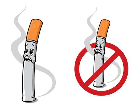 smoking ban: Cartoon cigarette for smoking ban sign concept